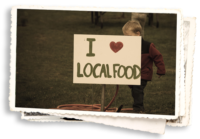 Sign that says I love local food